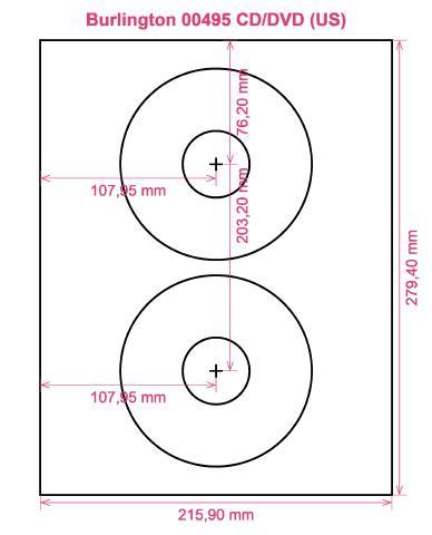 Burlington 00495 CD DVD (US) label template layout