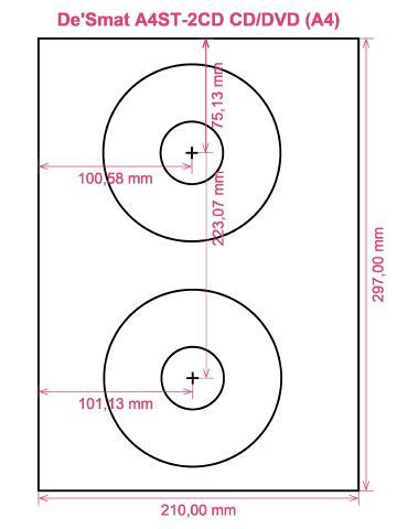 De'Smat A4ST-2CD CD DVD (A4) label template layout