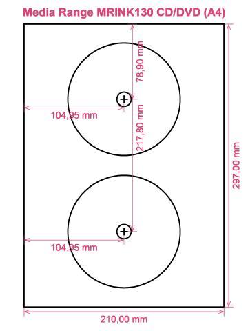 Media Range MRINK130 CD DVD (A4) label template layout