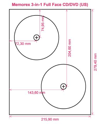 Memorex 3 In 1 Full Face CD DVD US Label Template Layout