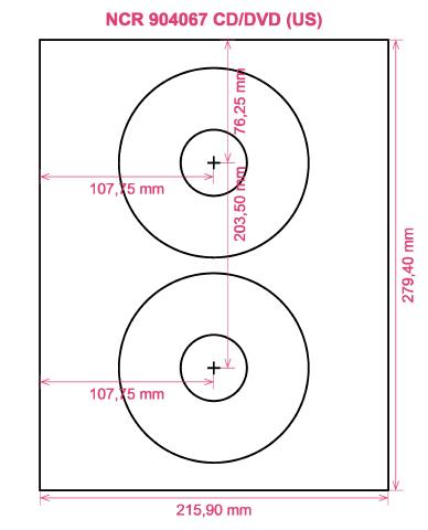 NCR 904067 CD DVD (US) label template layout