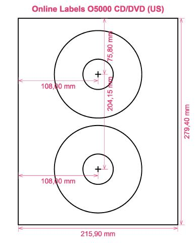 Online Labels O5000 CD DVD (US) label template layout