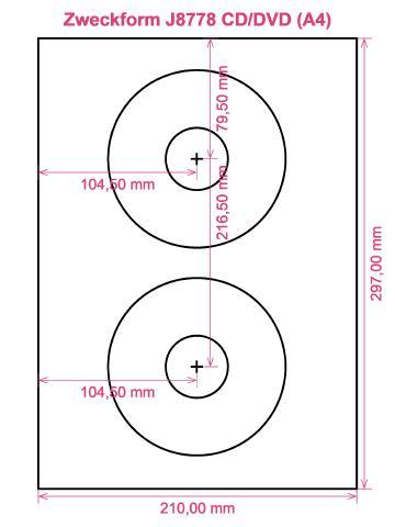 Zweckform J8778 CD DVD (A4) label template layout