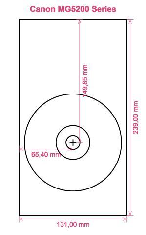 Canon MG5200 Series printer CD DVD tray layout