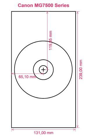 Canon MG7500 Series printer CD DVD tray layout