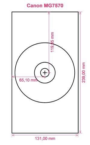 Canon MG7570 printer CD DVD tray layout
