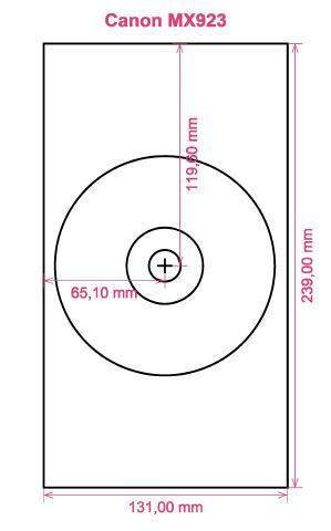 Canon MX923 printer CD DVD tray layout