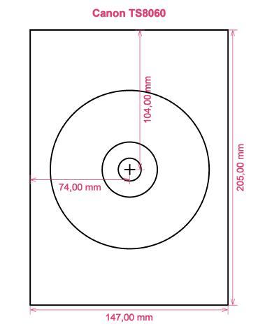 Canon TS8060 printer CD DVD tray layout