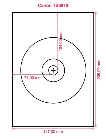 Canon TS8070 printer CD DVD tray layout