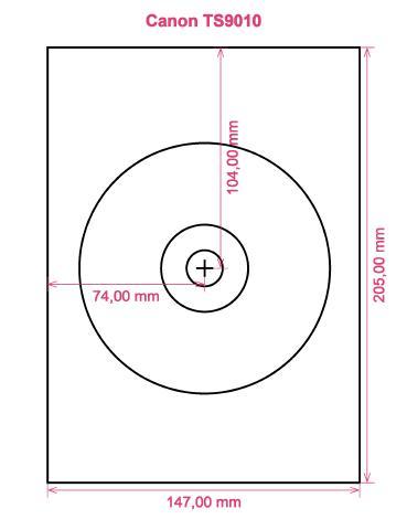 Canon TS9010 printer CD DVD tray layout