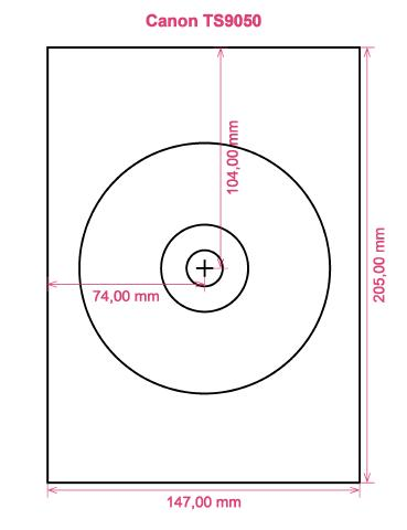Canon TS9050 printer CD DVD tray layout