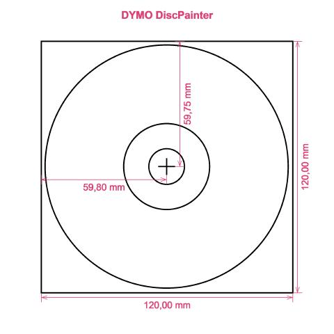 DYMO DiscPainter printer CD DVD tray layout