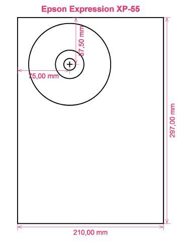 Epson Expression XP-55 printer CD DVD tray layout