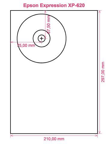 Epson Expression XP-620 printer CD DVD tray layout