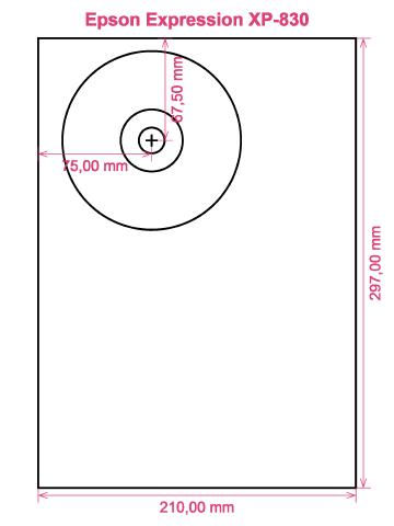 Epson Expression XP-830 printer CD DVD tray layout