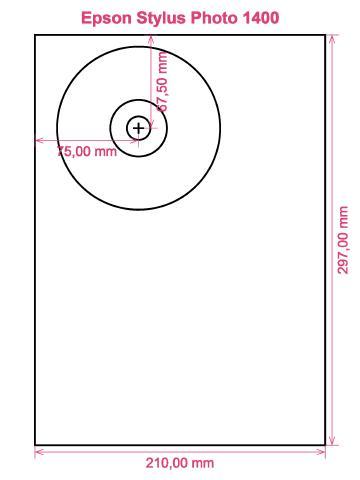 Epson Stylus Photo 1400 printer CD DVD tray layout
