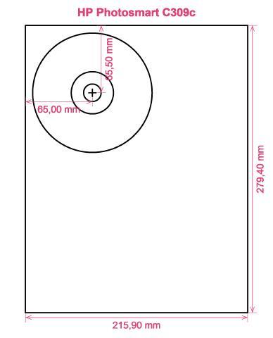 HP Photosmart C309c printer CD DVD tray layout