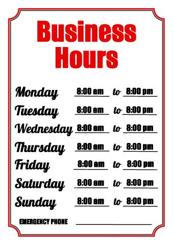 Hours of operation sign template ukrandiffusion business hours sign template how to make a business hours sign accmission Images