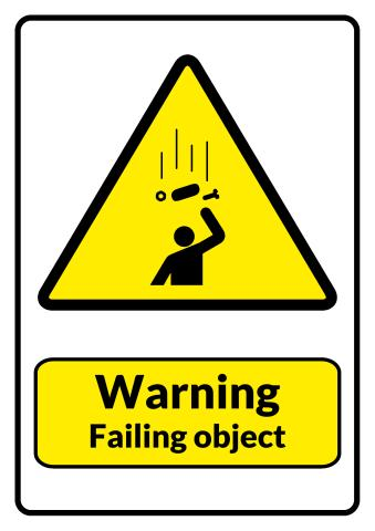 Falling Objects sign template
