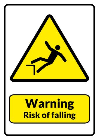 Risk of Falling sign template