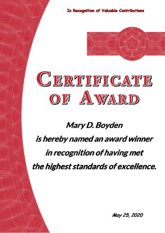 Certificate of Award template