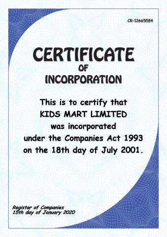 Certificate of Incorporation template