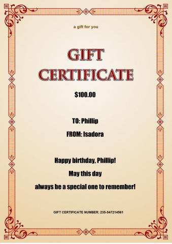 Gift Certificate 3 template