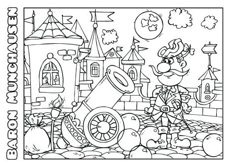 Baron Munchausen Coloring Book Template
