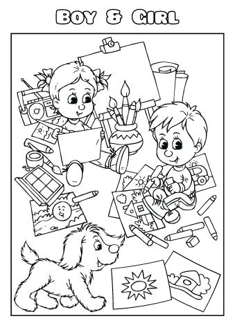 Boy & Girl coloring book template