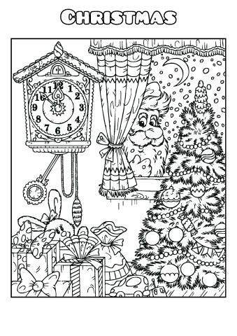 Christmas coloring book template