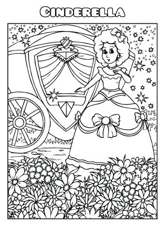 Cinderella coloring book template