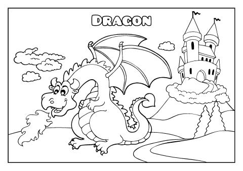 dragon coloring book template - Dragon Coloring Books