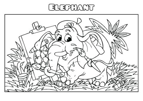 Elephant coloring book template