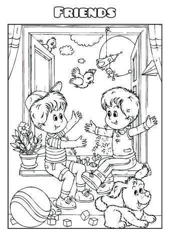 Friends coloring book template