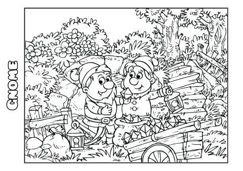 Gnome coloring book template