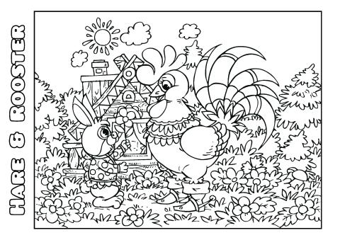 Hare & Rooster coloring book template