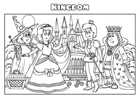 Kingdom coloring book template