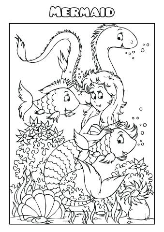 Mermaid coloring book template