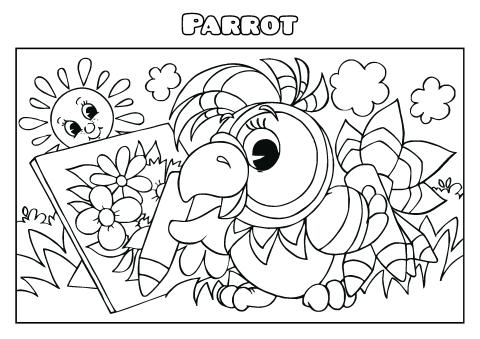 Parrot coloring book template