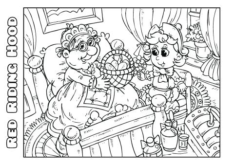 Red Riding Hood 1 coloring book template