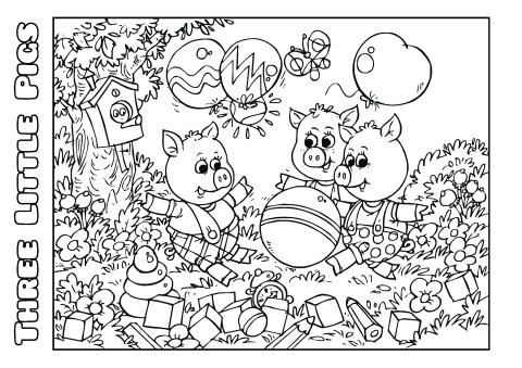 Three Little Pigs coloring book template