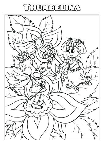 Thumbelina coloring book template