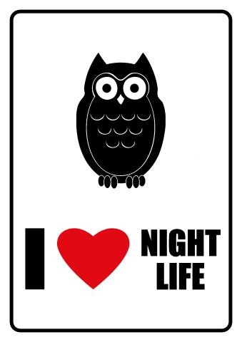 I Love Night Life sign template