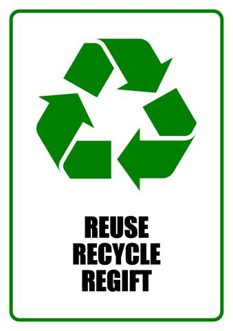 Reuse, Recycle, Regift sign template
