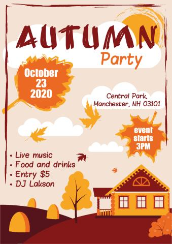 Autumn Party poster template