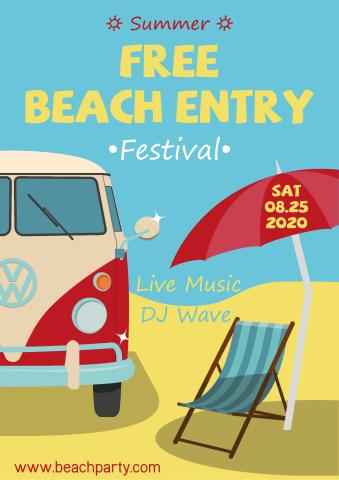 Beach Party 2 poster template