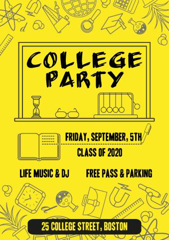 College Party poster template