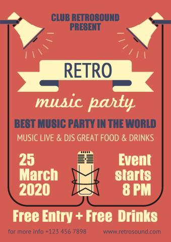 Retro Party 2 poster template
