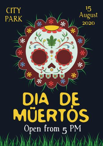 Santa Muerte Party poster template