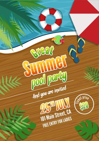 Summer Party 2 poster template